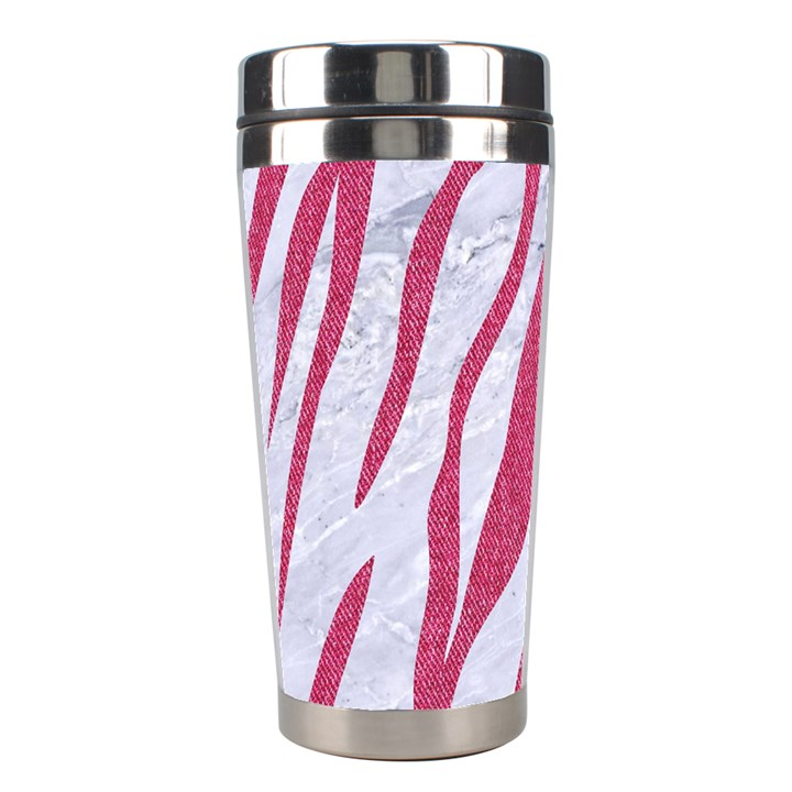 SKIN3 WHITE MARBLE & PINK DENIM (R) Stainless Steel Travel Tumblers