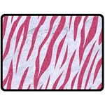 SKIN3 WHITE MARBLE & PINK DENIM (R) Double Sided Fleece Blanket (Large)  80 x60 Blanket Front
