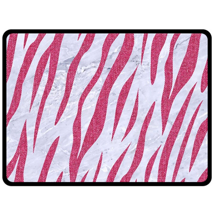 SKIN3 WHITE MARBLE & PINK DENIM (R) Double Sided Fleece Blanket (Large)