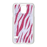 SKIN3 WHITE MARBLE & PINK DENIM (R) Samsung Galaxy S5 Case (White) Front