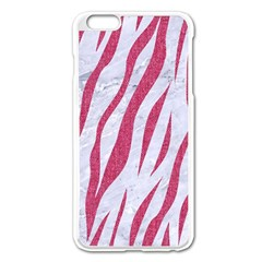 Skin3 White Marble & Pink Denim (r) Apple Iphone 6 Plus/6s Plus Enamel White Case by trendistuff