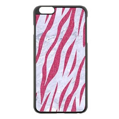 Skin3 White Marble & Pink Denim (r) Apple Iphone 6 Plus/6s Plus Black Enamel Case by trendistuff