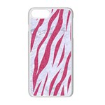 SKIN3 WHITE MARBLE & PINK DENIM (R) Apple iPhone 7 Plus Seamless Case (White) Front