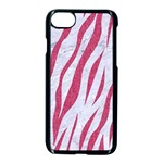 SKIN3 WHITE MARBLE & PINK DENIM (R) Apple iPhone 7 Seamless Case (Black) Front