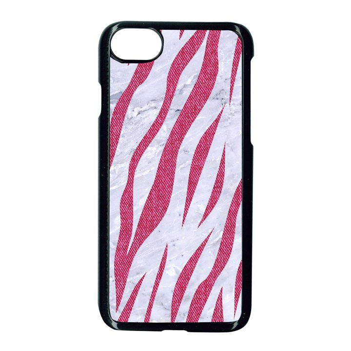 SKIN3 WHITE MARBLE & PINK DENIM (R) Apple iPhone 7 Seamless Case (Black)