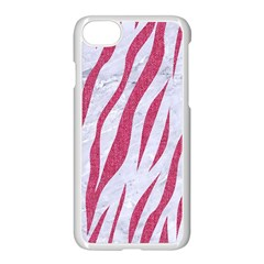 SKIN3 WHITE MARBLE & PINK DENIM (R) Apple iPhone 8 Seamless Case (White)