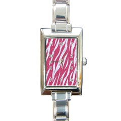 SKIN3 WHITE MARBLE & PINK DENIM Rectangle Italian Charm Watch