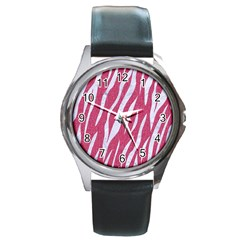 SKIN3 WHITE MARBLE & PINK DENIM Round Metal Watch