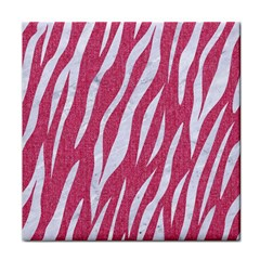 SKIN3 WHITE MARBLE & PINK DENIM Tile Coasters