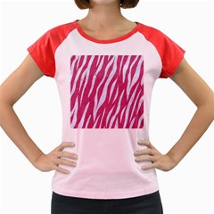 SKIN3 WHITE MARBLE & PINK DENIM Women s Cap Sleeve T-Shirt