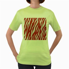 SKIN3 WHITE MARBLE & PINK DENIM Women s Green T-Shirt