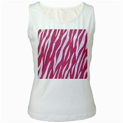 SKIN3 WHITE MARBLE & PINK DENIM Women s White Tank Top