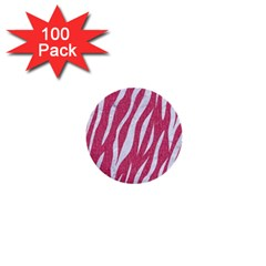 Skin3 White Marble & Pink Denim 1  Mini Buttons (100 Pack)  by trendistuff