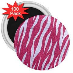 Skin3 White Marble & Pink Denim 3  Magnets (100 Pack)