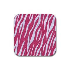 Skin3 White Marble & Pink Denim Rubber Square Coaster (4 Pack)