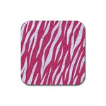 SKIN3 WHITE MARBLE & PINK DENIM Rubber Square Coaster (4 pack)  Front