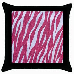 SKIN3 WHITE MARBLE & PINK DENIM Throw Pillow Case (Black)
