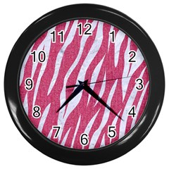 SKIN3 WHITE MARBLE & PINK DENIM Wall Clocks (Black)