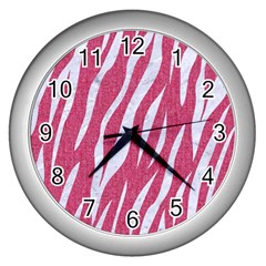 SKIN3 WHITE MARBLE & PINK DENIM Wall Clocks (Silver)