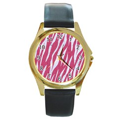 SKIN3 WHITE MARBLE & PINK DENIM Round Gold Metal Watch