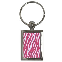 SKIN3 WHITE MARBLE & PINK DENIM Key Chains (Rectangle)