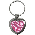 SKIN3 WHITE MARBLE & PINK DENIM Key Chains (Heart)  Front