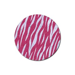 SKIN3 WHITE MARBLE & PINK DENIM Rubber Coaster (Round)
