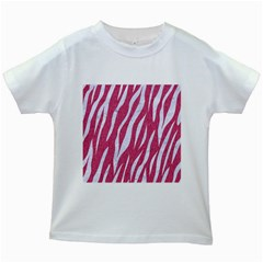 SKIN3 WHITE MARBLE & PINK DENIM Kids White T-Shirts