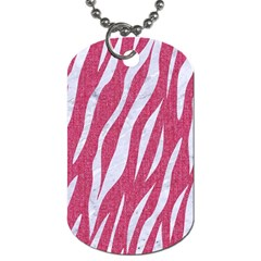 SKIN3 WHITE MARBLE & PINK DENIM Dog Tag (Two Sides)