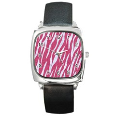 SKIN3 WHITE MARBLE & PINK DENIM Square Metal Watch