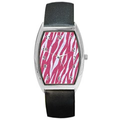 SKIN3 WHITE MARBLE & PINK DENIM Barrel Style Metal Watch