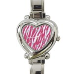 SKIN3 WHITE MARBLE & PINK DENIM Heart Italian Charm Watch Front