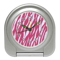 SKIN3 WHITE MARBLE & PINK DENIM Travel Alarm Clocks