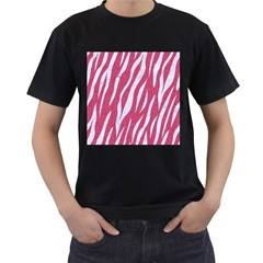 SKIN3 WHITE MARBLE & PINK DENIM Men s T-Shirt (Black) (Two Sided)