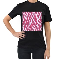 SKIN3 WHITE MARBLE & PINK DENIM Women s T-Shirt (Black) (Two Sided)