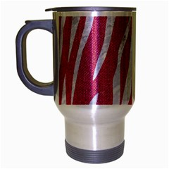 SKIN3 WHITE MARBLE & PINK DENIM Travel Mug (Silver Gray)