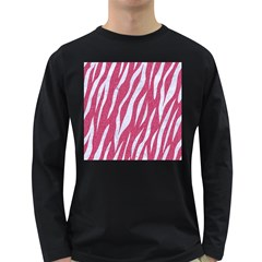 SKIN3 WHITE MARBLE & PINK DENIM Long Sleeve Dark T-Shirts