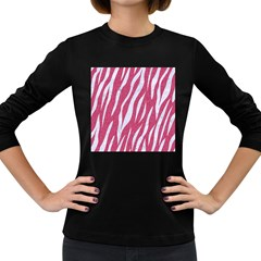 Skin3 White Marble & Pink Denim Women s Long Sleeve Dark T Shirts