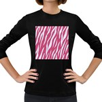 SKIN3 WHITE MARBLE & PINK DENIM Women s Long Sleeve Dark T-Shirts Front