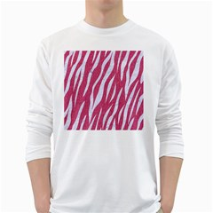 SKIN3 WHITE MARBLE & PINK DENIM White Long Sleeve T-Shirts