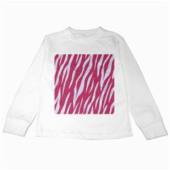 SKIN3 WHITE MARBLE & PINK DENIM Kids Long Sleeve T-Shirts
