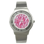 SKIN3 WHITE MARBLE & PINK DENIM Stainless Steel Watch Front