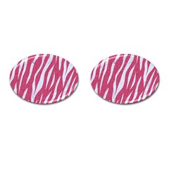 SKIN3 WHITE MARBLE & PINK DENIM Cufflinks (Oval)