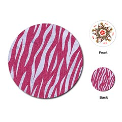 SKIN3 WHITE MARBLE & PINK DENIM Playing Cards (Round)