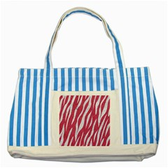 SKIN3 WHITE MARBLE & PINK DENIM Striped Blue Tote Bag