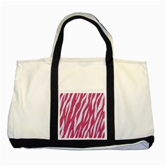 SKIN3 WHITE MARBLE & PINK DENIM Two Tone Tote Bag