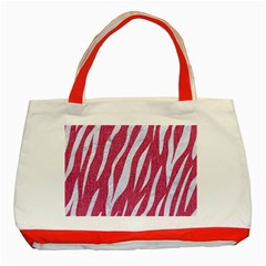 SKIN3 WHITE MARBLE & PINK DENIM Classic Tote Bag (Red)