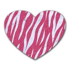 SKIN3 WHITE MARBLE & PINK DENIM Heart Mousepads