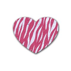 SKIN3 WHITE MARBLE & PINK DENIM Rubber Coaster (Heart)