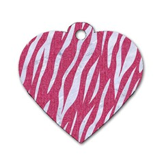 SKIN3 WHITE MARBLE & PINK DENIM Dog Tag Heart (One Side)